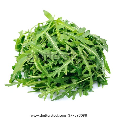 Arugula salad isolated white close up Foto stock ©