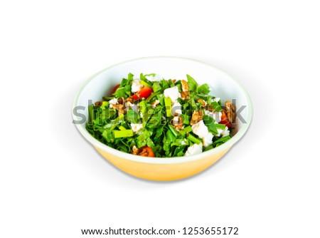 Arugula Salad with Walnut, White Background, with clipping path included (TR: Roka Salatasi, Cevizli ) Stok fotoğraf ©