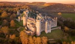 Arundel Castle, Arundel, West Sussex, England, United Kingdom. Bird Eye View. Beautiful Sunset Light