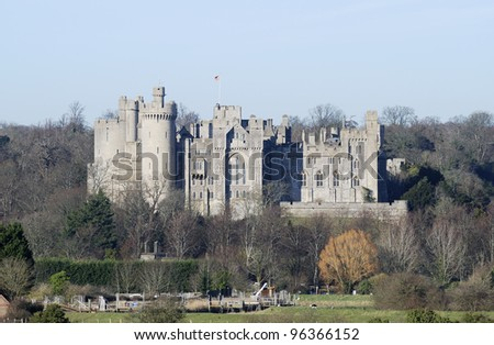 Arundel castle. Viewed from surrounding meadows. West Sussex. England.