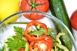 arvesting vegetable vitamin salad in the home kitchen, close-up