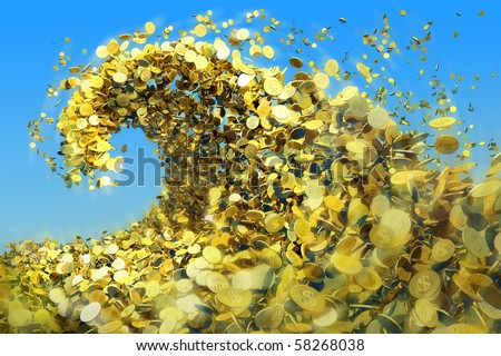 As a huge tsunami wave of gold coins symbolize success and good profits