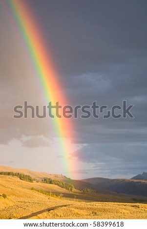 As a rain storm passes, the setting sun creates a vibrant rainbow in Lamar Valley, Yellowstone Park, Wyoming