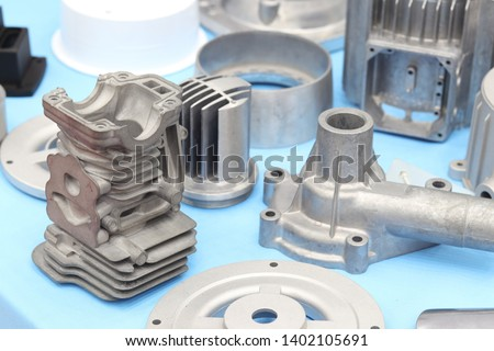 as cast  aluminium high pressure die casting part for automotive and electrical equipment ; by pushing molten into a mold cavity by hydraulic sleeve ; industrial background #1402105691