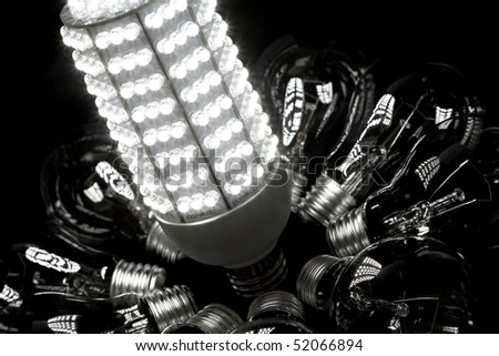 As incandescent light bulbs is outlawed in more and more countries LED is believed the be the future of lamps, as an energy efficient and environmentally friendly alternative. - stock photo