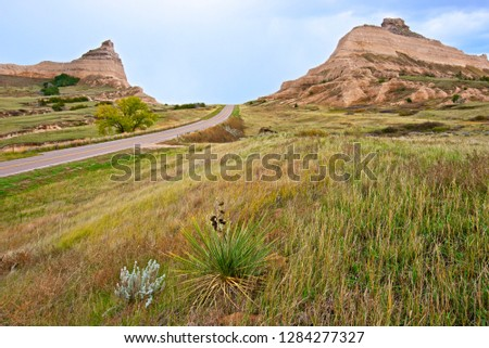 As the Oregon Trail leaves Nebraska heading west it passes Scotts Bluff and heads through Mitchell Pass. Tens of thousands of emigrants passed this way in the 1840s and 50s. #1284277327