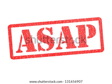 ASAP red rubber stamp over a white background.