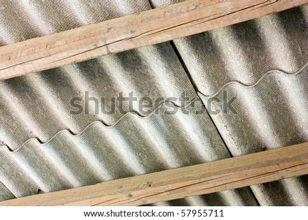 asbestos cement panels, pollution source, wavy roof cover on pollutant eternit  panels