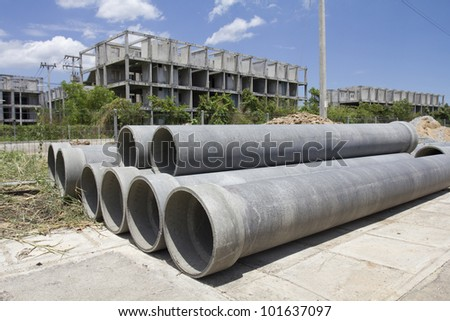 asbestos pipes for drain in construction site