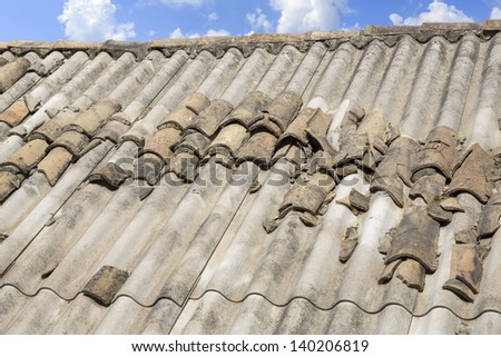 Asbestos roof in Greece