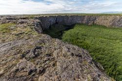asbyrgi is a horseshoe-shaped canyon in Jokulsargljufur national park, Iceland.