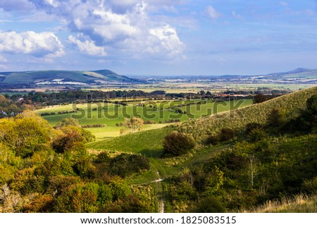 Ascending the Kingston Ridge near Lewes in east Sussex with magnificent views east of the south downs countryside Zdjęcia stock ©