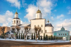 Ascension Church in the Ascension Monastery in Smolensk under the spring blue sky