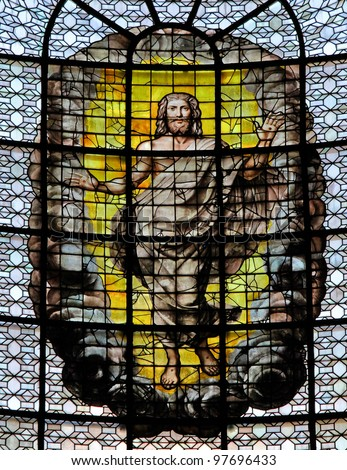 Ascension of Christ. Stained glass window in the church Sainte Sulpice in Paris, France.