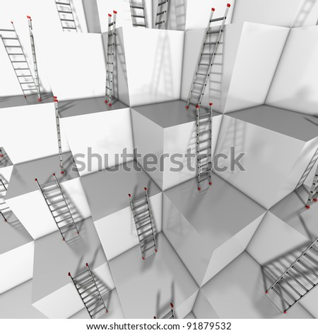 Ascent or descend Illustration of a group of white blocks with a lot of ladders against their walls