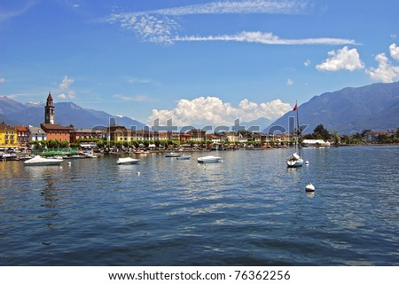 Ascona town on shore of lake Maggiore