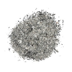ash isolated on white background, texture