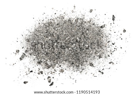 Ash isolated on white background, texture top view