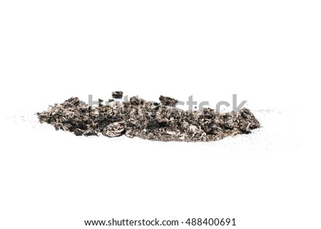 ash isolated on white background, texture with clipping path