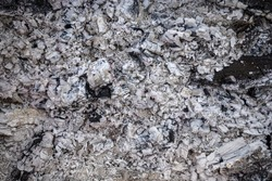 Ash natural background texture, Gray ash from the oven background texture, cinder, gray ash from wood