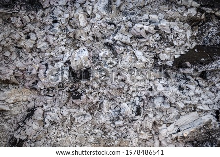 Ash natural background texture, Gray ash from the oven background texture, cinder, gray ash from wood Сток-фото ©