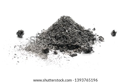 Ash pile isolated on white background, texture Сток-фото ©