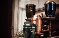 ash vases in funeral house