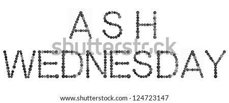 ASH WEDNESDAY text made from sewing buttons