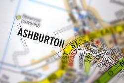Ashburton village - Devon, United Kingdom colour atlas map town plan and district, village, town and county name