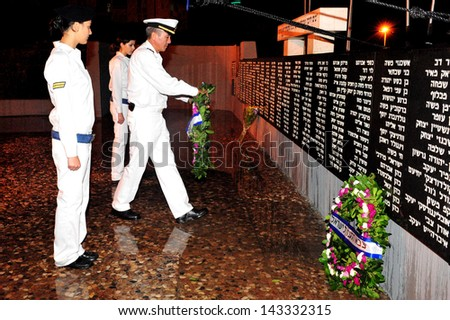 ASHDOD, ISR - OCT 28:The anniversary ceremony to the Israeli Navy fallen soldiers on 28 Oct 2008.The Navy is charged with defense of Israel's 190 km-long coastline and protecting it's maritime assets.