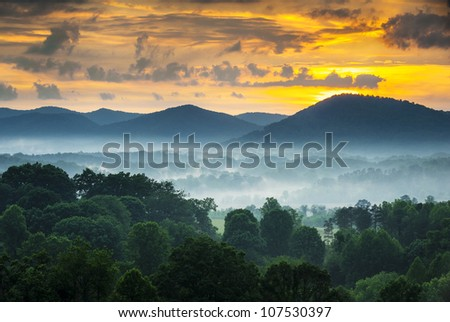 Asheville NC Blue Ridge Mountains Sunset and Fog Landscape Photography near the Blue Ridge Parkway in Western North Carolina