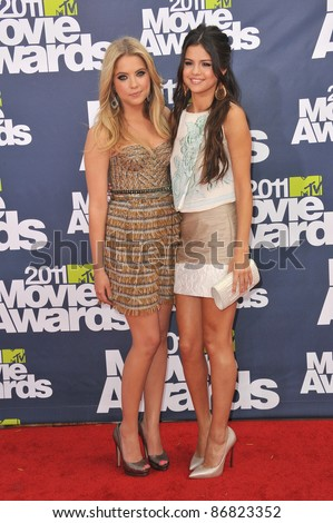 Ashley Benson & Selena Gomez (right) arrives at the 2011 MTV Movie Awards at the Gibson Amphitheatre, Universal Studios, Hollywood. June 5, 2011  Los Angeles, CA Picture: Paul Smith / Featureflash