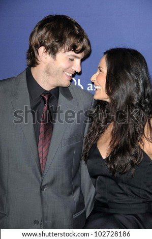 "Ashton Kutcher and Demi Moore at the 18th Annual ""A Night at Sardi's"" benefitting the Alzheimer's Association, Beverly Hilton, Beverly Hills, CA. 03-18-10"
