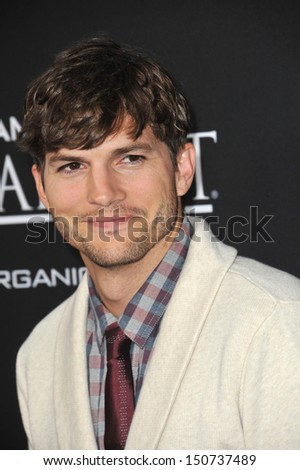 "Ashton Kutcher at the Los Angeles premiere of his movie ""Jobs"" at the Regal Cinemas LA Live. August 13, 2013  Los Angeles, CA"