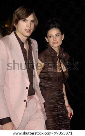 ASHTON KUTCHER & DEMI MOORE at the Rodeo Drive Walk of Style Gala honoring Gucci's Tom Ford. March 28, 2004