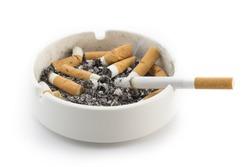 Ashtray and smoked cigarettes