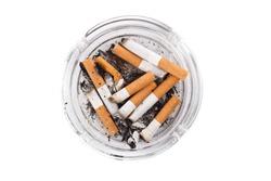 Ashtray full of cigarettes. Isolated on white.