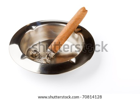Ashtray with a decaying cigar isolated on a white background