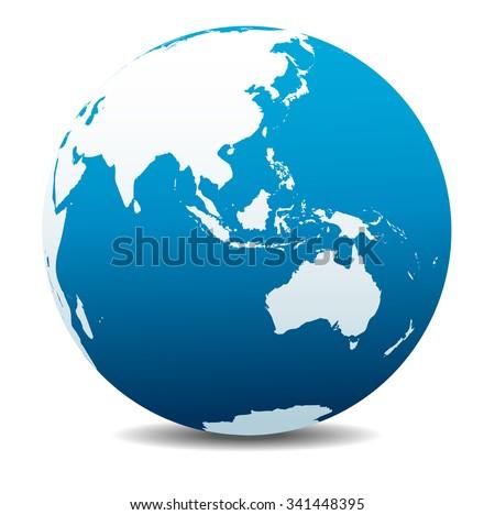 Asia and Australia, Global World - Raster Version