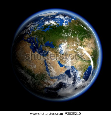 Asia and Europe. Elements of this image furnished by NASA.