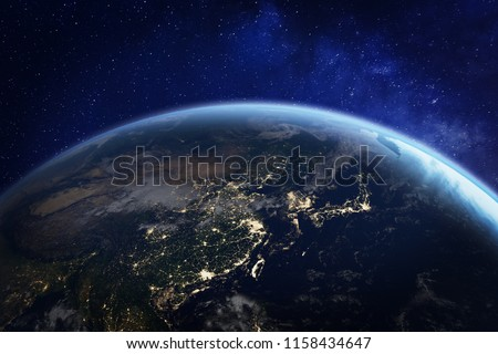 Asia at night from space with city lights showing human activity in China, Japan, South Korea, Taiwan and other countries, 3d rendering of planet Earth, elements from NASA #1158434647