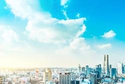Asia Business concept for real estate and corporate construction - panoramic modern city skyline aerial view of Yokohama minato mirai 21 Area under blue sky in Yokohama, Japan
