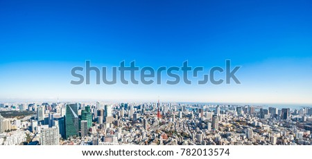 Asia Business concept for real estate and corporate construction - panoramic modern city skyline bird eye aerial view of tokyo tower and vivid blue sky in Roppongi Hill, Tokyo, Japan #782013574