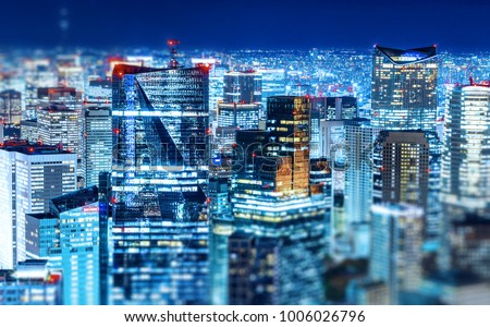 Asia Business concept for real estate & corporate construction - panoramic modern city skyline view with neon night in Roppongi Hill, Tokyo, Japan. Miniature Tilt-shift effect #1006026796
