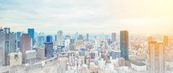 Asia Business concept for real estate - panoramic modern cityscape building bird eye aerial view under sunrise and morning blue bright sky in Osaka, Japan, mix with hand drawn sketch illustration