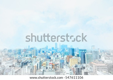 Asia Business concept - panoramic modern cityscape building bird eye aerial view under sunrise and morning blue bright sky from Nagoya TV Tower in Nagoya, Japan mix hand drawn sketch illustration #547611106