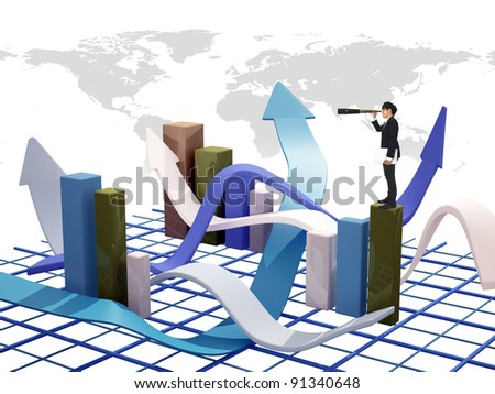 Asia Businessman standing on 3d graph