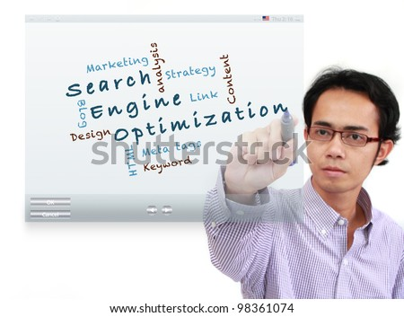 asia businessman writing Search engine optimization ( SEO) and other related words, on touch screen interface isolated on white background