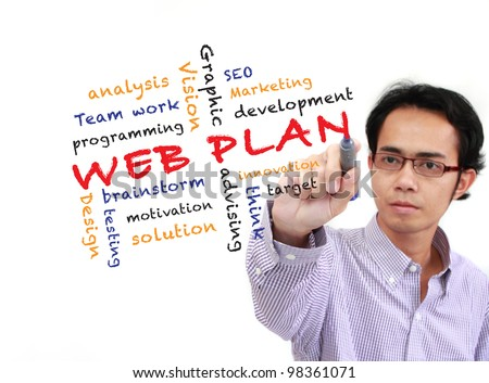 asia businessman writing Web plan concept and other related words, on white board isolated on white background