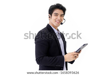 Asia call center workers or Confident business  with headset,Customer support standing on white background.